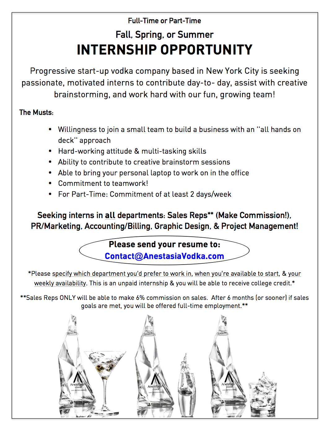 Internships in all departments available creative for Internship new york