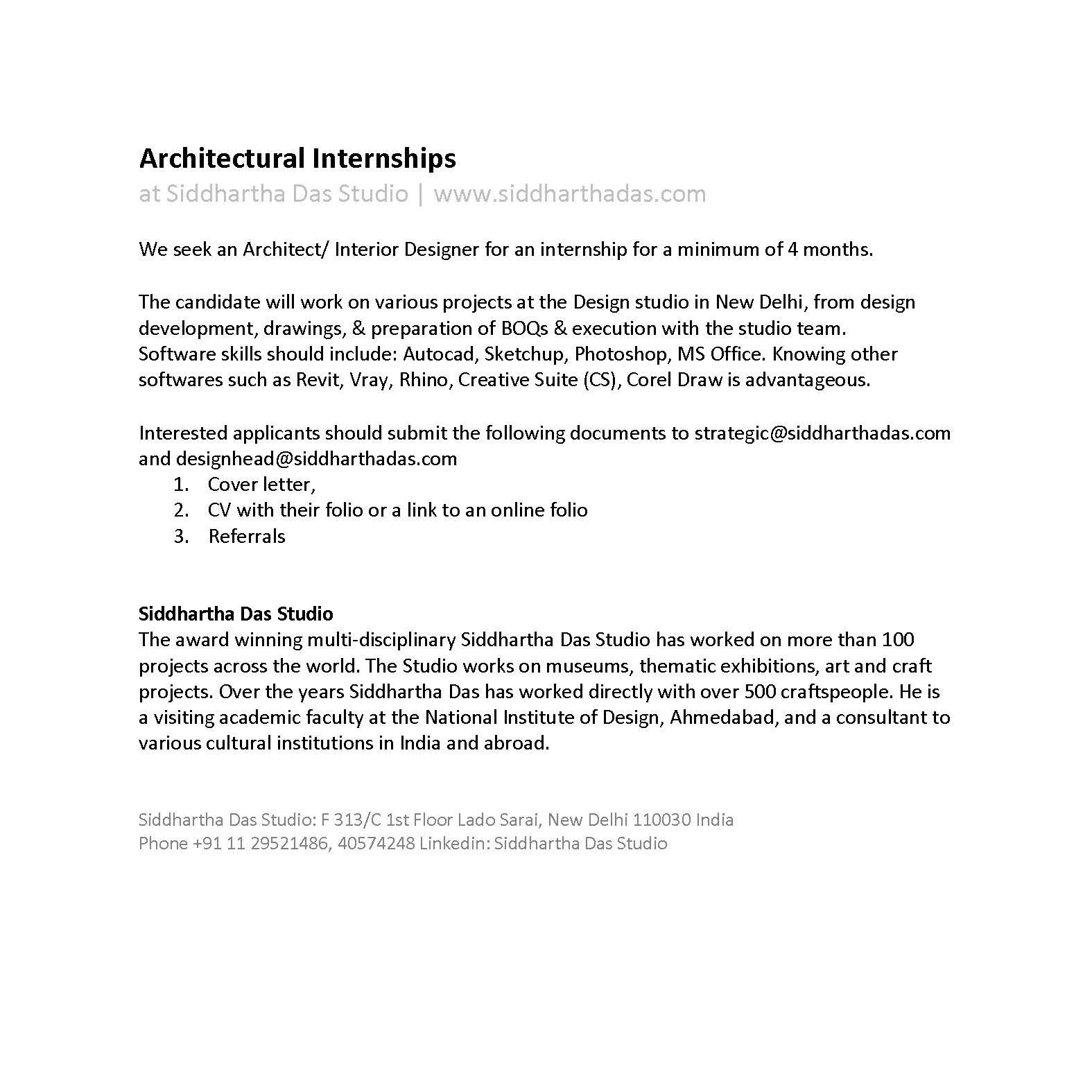 Design Internship Siddhartha Das Studio